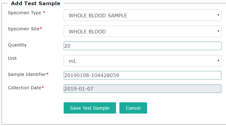 Add Sample form