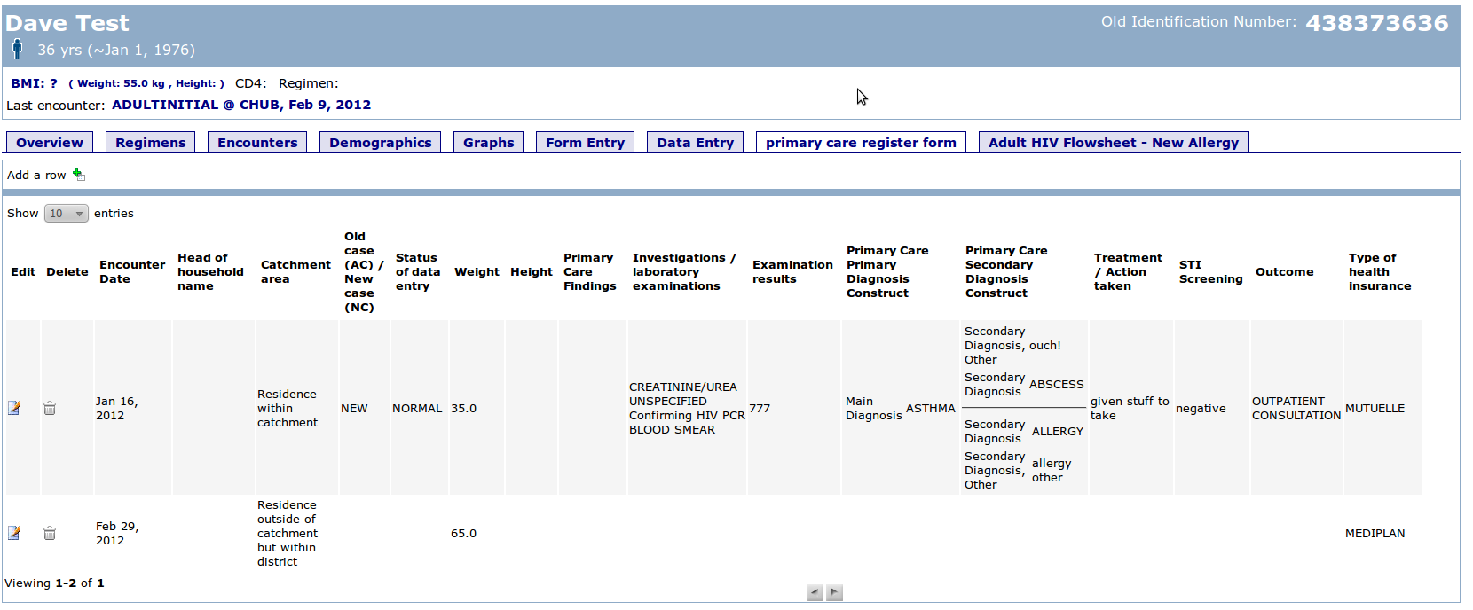 Register Module Patient Dashboard Extension - Documentation