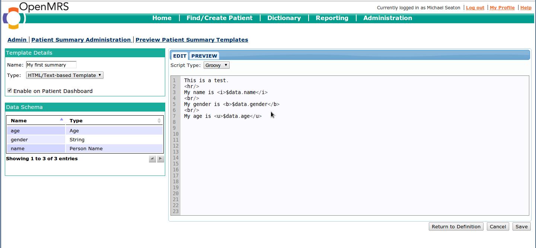 Create patient summary templates documentation openmrs wiki maxwellsz