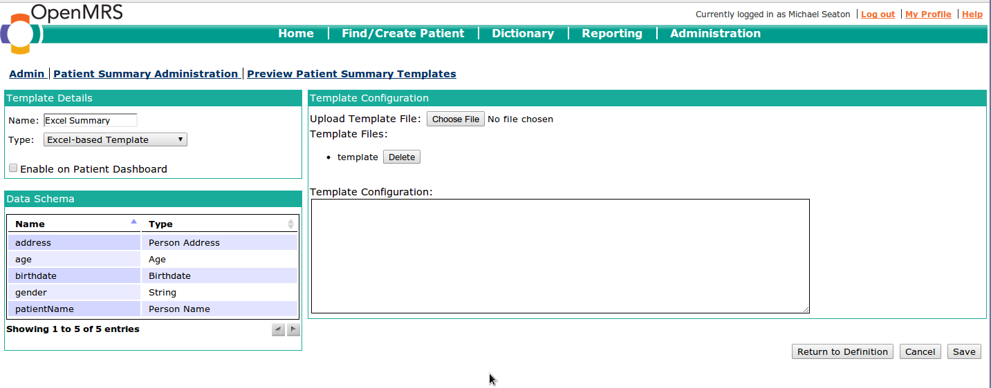 patient database template - person data definitions ada east district hospital