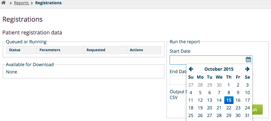 Run Reports page for a report definition in the database